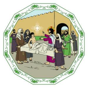 Jesus uppväcker Lasarus från det döda.