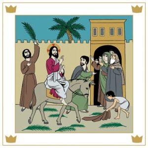 Jesus rider in på en åsna och hyllas av folket.