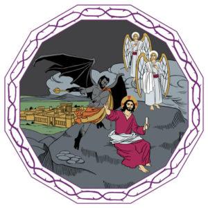 Jesus frestas i öknen av djävulen.