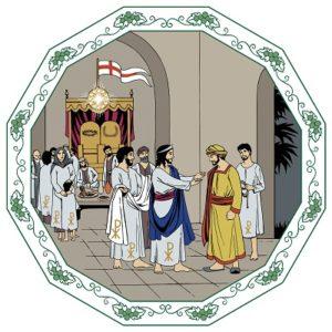 Människor klädda i vita dräkter ser på när en man välkomnas till Guds rike.