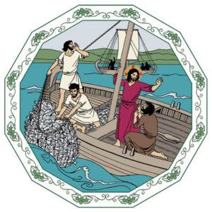 Jesus säger till lärjungarna att kasta ut nätet på andra sidan och de får mycket fisk.