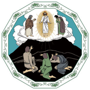 Jesus, Elia och Mose visar sig för lärjungarna på berget.